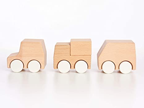 Tinkerton New Vehicles Wood Car Truck Van Baby Toy 2 25 Wide Educational Easy For Toddlers To Hold For Push Pull Pretending Learning