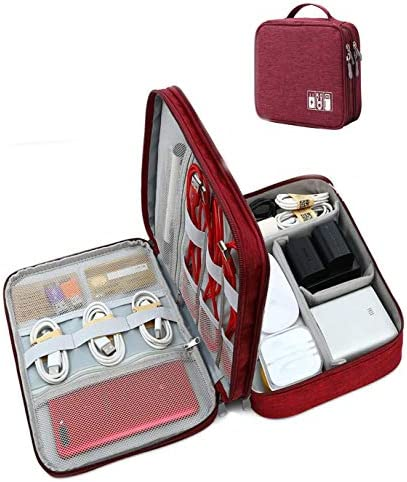 Seagull Flight Of Fashion 3 Layer Gadget Organizer Case , Electronic Accessories Organizer Bag for Cables , Charger , Hard Disk , Power Bank [27cm x 20cm x 9 cm (Wine Red)]