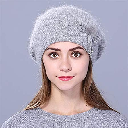 89cc29c6b581e Amazon.com  FelixStore Winter Beret hat for Women Knitted hat Faux Fur Beret  for Girl Solid Colors Fashion Lady Cap  Kitchen   Dining