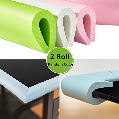 2 Rolls Baby Proofing Edge, Magnoloran Child Safety Furniture Bumper Edge Cushion Baby proof Desk Table Protector L-type Anti-Collision Table Protectors with Double Sides Adhesive Tape