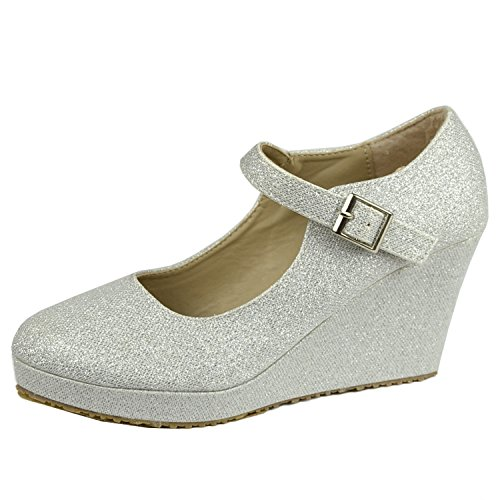 Womens Platform Shoes Glitter Accent Closed Toe Mary Jane Wedges Silver 6.5