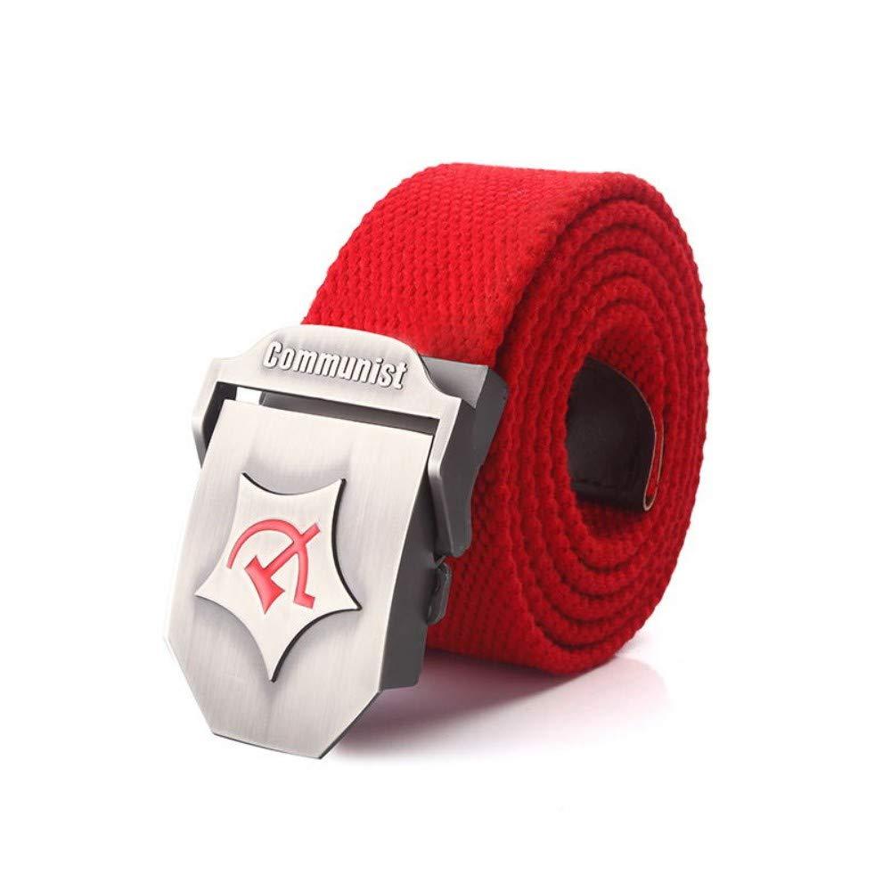 YUANZYYD Cintur/ón De Lona Cintur/ón T/áctico Hombres Y Mujeres Militares Cintur/ón De Lona Comunista Hebilla De Metal Rojo Pantalones Vaqueros Cintur/ón Cinturones T/ácticos del Ej/ército para Hombres Co