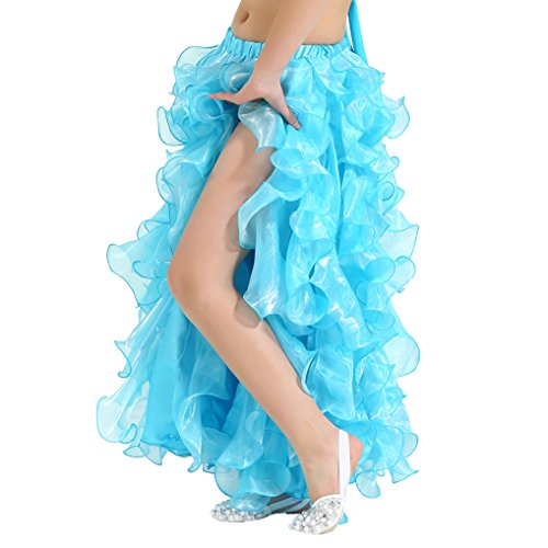 [Dance Fairy Children Opening Belly Dance Skirt Pompon Pettiskirt-S,Lake Blue] (Dancing With The Stars Costumes Designs)