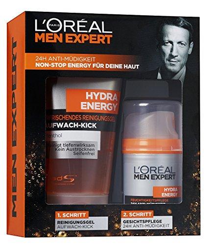 L'Oréal Men Expert Geschenkset Hydra Energy - Pflegeset inkl. Erfrischendem Reinigungsgel + 24h Anti-Müdigkeit Feuchtigkeitscreme für Männer, 1 Set