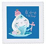 3dRose Uta Naumann Sayings and Typography - Cute Teal Watercolor Animal Illustration - Bunny - Always Teatime - 6x6 inch Quilt Square (qs_289940_2)