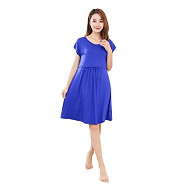 c995f4841e30b Brezeh Pregnant Dress,Womens Mother Summer Short Sleeve Dress Ladies O Neck  Casual Maternity Nursing Dress Loose Breastfeeding Dress Summer Beach Dress  (L, ...