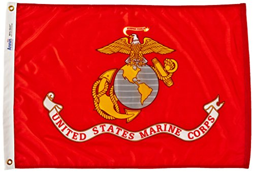 Annin Flagmakers Model 439004 U.S. Marine Corps Military Flag Nylon SolarGuard NYL-Glo, 2x3 ft, 100% Made in USA Specifications. Officially Licensed