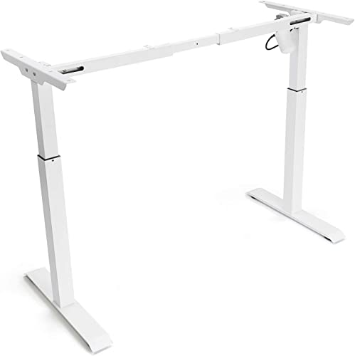 Electric White Stand up Desk Frame – FEZIBO Single Motor Height Adjustable Sit Stand Standing Desk Base Workstation Frame Only