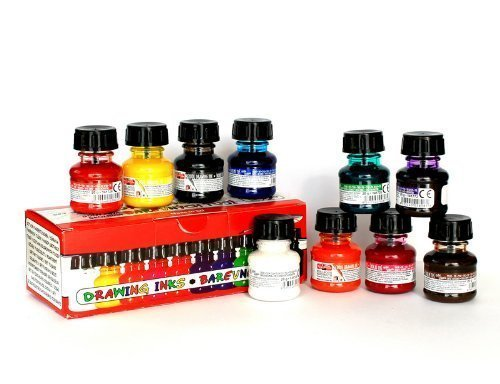 Koh-i-noor 10 X 20g Technical Drawing Inks Different Colours, 01417S1001KK by Koh-I-Noor