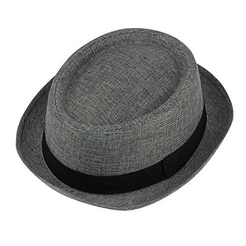 Herren Damen Vintage knautschbar Stroh Pork Pie Breaking Bad Heisenberg Hat Gr. S ( 56 cm ), grau