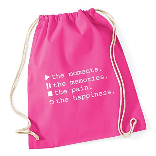 The The Cotton Fuchsia Pain Gym Sack The HippoWarehouse 46cm Stop Symbols Play 12 The Replay x Bag litres 37cm Happiness Memories School Moments Kid Control Drawstring Pause q8xvZFIw