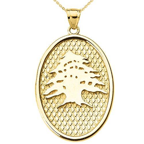 Collier Femme Pendentif 14 Ct Or Jaune Libanais Cèdre Arbre Ovale (Livré avec une 45cm Chaîne)