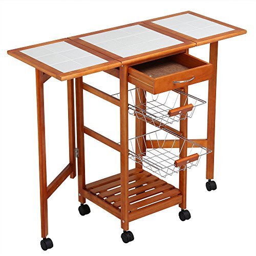 - MRT SUPPLY Portable Rolling Drop Leaf Kitchen Storage Island Cart Trolley Folding Table with Ebook