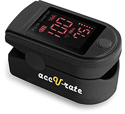 Acc U Rate Pro Series CMS 500DL Fingertip Pulse Oximeter Blood Oxygen Saturation Monitor with silicon cover, batteries and lanyard