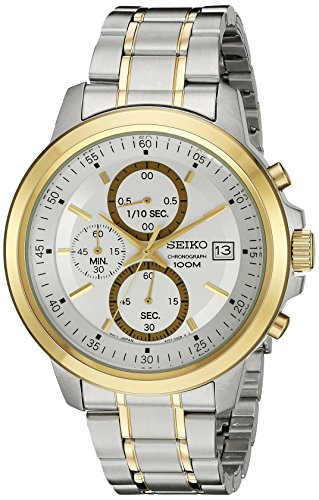 Seiko Chronograph Two Tone Stainless Steel Silver Dial Male Watch (Two Tone Chronograph Silver Dial)