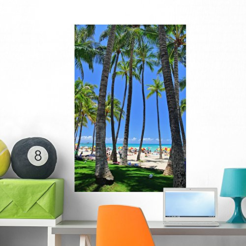 Waikiki Beach Honolulu (Waikiki Beach Honolulu Oahu Wall Mural by Wallmonkeys Peel and Stick Graphic (36 in H x 24 in W) WM18507)