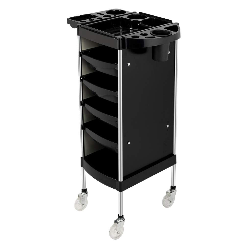 Mefeir Salon Trolley Cart with ABS Drawers, Metal Holder, Rolling Wheels for Stylist Hairdresser, Beauty Furniture Hair Styling Storage Station Color Tray