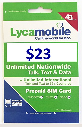 Insert Sim Card (Lycamobile Preloaded Sim Card with $23 Plan Service Plan with Unlimited talk text and Data)