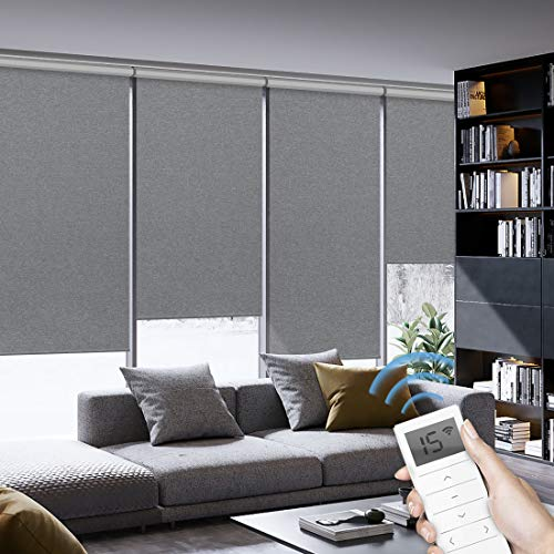 Graywind Motorized Roller Shades 100% Blackout Window Shades Cordless Thermal Insulated Window Roller Blinds with Valance and Triple Weaved Fabric for Smart Home and Office, Customized Size Dark Grey