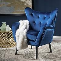 Ashton Mid Century Navy Blue Velvet Arm Chair