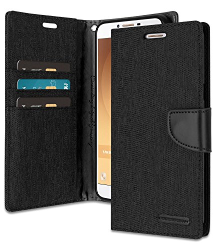 Galaxy J1 Ace Wallet Case with Free 4 Gifts [Shockproof] GOOSPERY Canvas Diary [Ver. Magnetic] Card Holder with Kickstand Flip Cover for Samsung GalaxyJ1Ace - Black, - Galaxy Flip Cover Ace Samsung