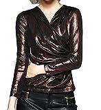 Zago Women's Classic Long Sleeve Wrap Front V Neck Metallic Color T-Shirt Tops Coffee XS