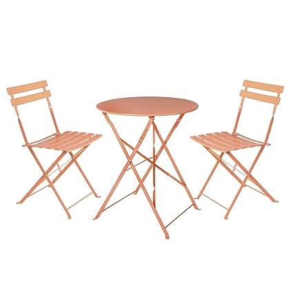 Conjunto Mesa y sillas de Acero Naranja de Exterior para terraza ...