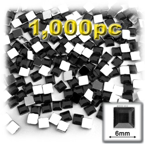 The Crafts Outlet 1000-Piece Flat Back Square Rhinestones, 6mm, Jet Black (Square 6sq)