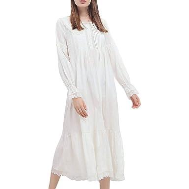 7d81a93fb4 Damen Weiss Romantisch Klassisch Prinzessin Nachthemd Schöne Pyjama Herbst  Langarm Winter Nachtwäsche Schlafanzug (Color :