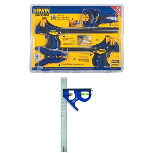 IRWIN QUICK-GRIP Clamp Set and IRWIN Combination Square