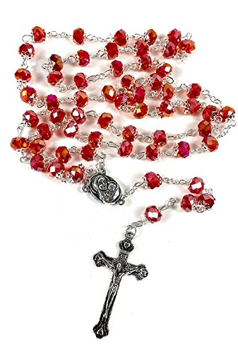 Silver Plated Necklace Rosary Crystal RED Glass Beads & Jesus Crucifix and Jerusalem Cross by Bethlehem Gifts (Rosary Silver Plated Crucifix)