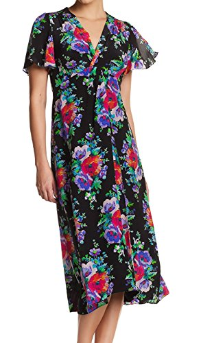 Silk Sheath Dress Pleated (Nanette Lepore Women's Pleated Floral Sheath Dress Black 4)