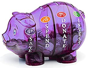 Money savvy pig purple home kitchen for 4 compartment piggy bank