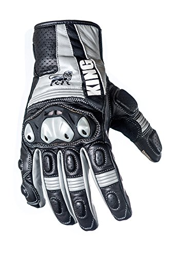 Protect the King Grackle Premium Leather Motorcycle Sport Biker Gloves (Large) ()