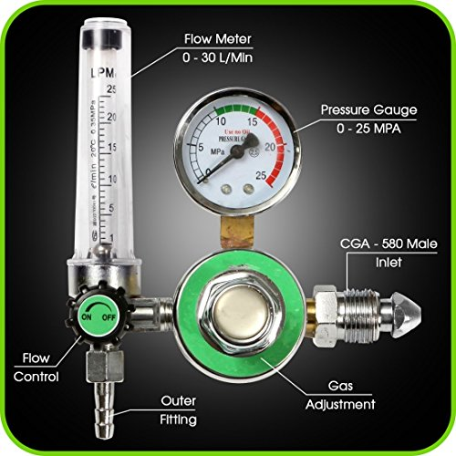 Argon Regulator With Flowmeter TIG Welder MIG Welding CO2 Regulator 0 to 30 L/MIN - 0 to 25 MPA Pressure Gauge CGA580 Inlet Connection Gas Welder Welding Regulator with Built-In Flow (Gas Inlet)