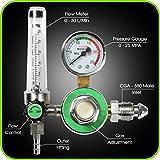 Argon Regulator With Flowmeter TIG Welder MIG Welding CO2 Regulator 0 to 30 L/MIN - 0 to 25 MPA Pressure Gauge CGA580 Inlet Connection Gas Welder Welding Regulator with Built-In Flow Meter