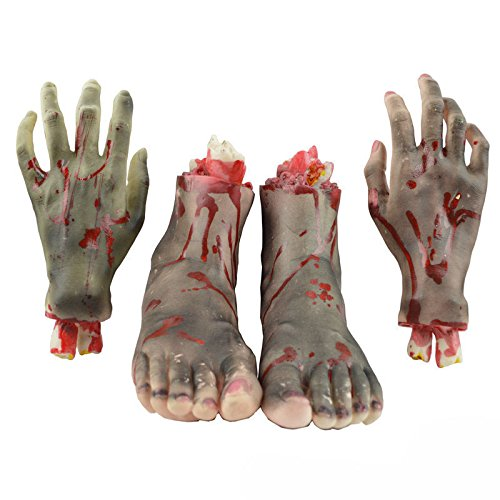 4PCS/Set Halloween Horror Props Severed Bloody Hand Foot Haunted House Bar Party Decoration The second generation New Style (Halloween Decortions)