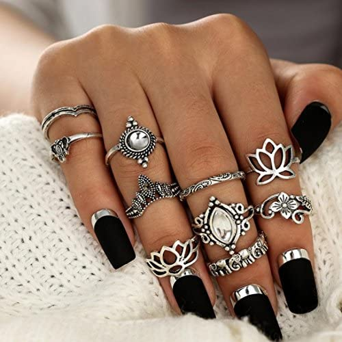 Balakie 8pcs Ring Bohemian Vintage Carving Silver Stack Knuckle Stackable Rings for Women