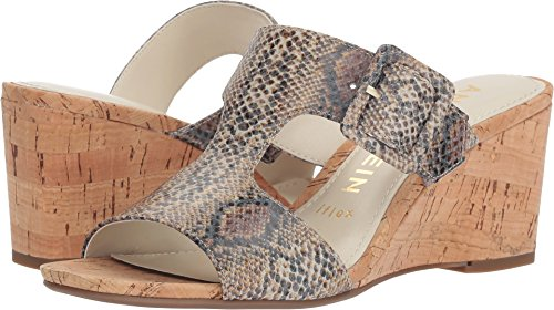 Anne Klein Women's NILLI Dress Sandal Wedge, Natural White Reptile, 8 M US