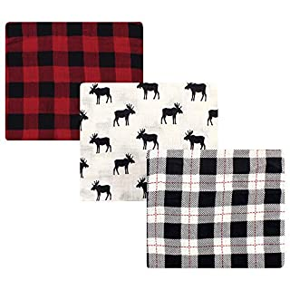 Hudson Baby Unisex Baby Cotton Muslin Swaddle Blankets, Moose 3-Pack, One Size