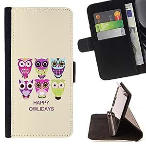 Dragon Case - FOR Samsung Galaxy S6 - happy owlidays - Caja de la carpeta del caso en folio de cuero del tir¨®n de la cubierta protectora Shell
