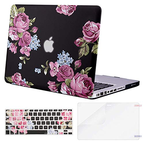 MOSISO Plastic Pattern Hard Case & Keyboard Cover & Screen Protector Only Compatible Old MacBook Pro 13 Inch (A1278 CD-ROM) Release Early 2012/2011/2010/2009/2008, Peony