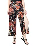 COMVIP Women's Printed Sexy Summer Beach Split Wide Leg Palazzo Pant Black L