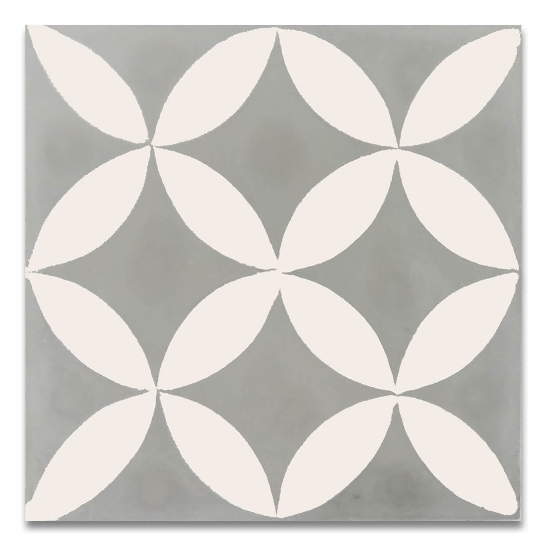Moroccan Mosaic & Tile House CTP07-10 Amlo 8''x8'' Handmade Cement Tile in Whilte and Gray (Pack of 12), GrayWhite