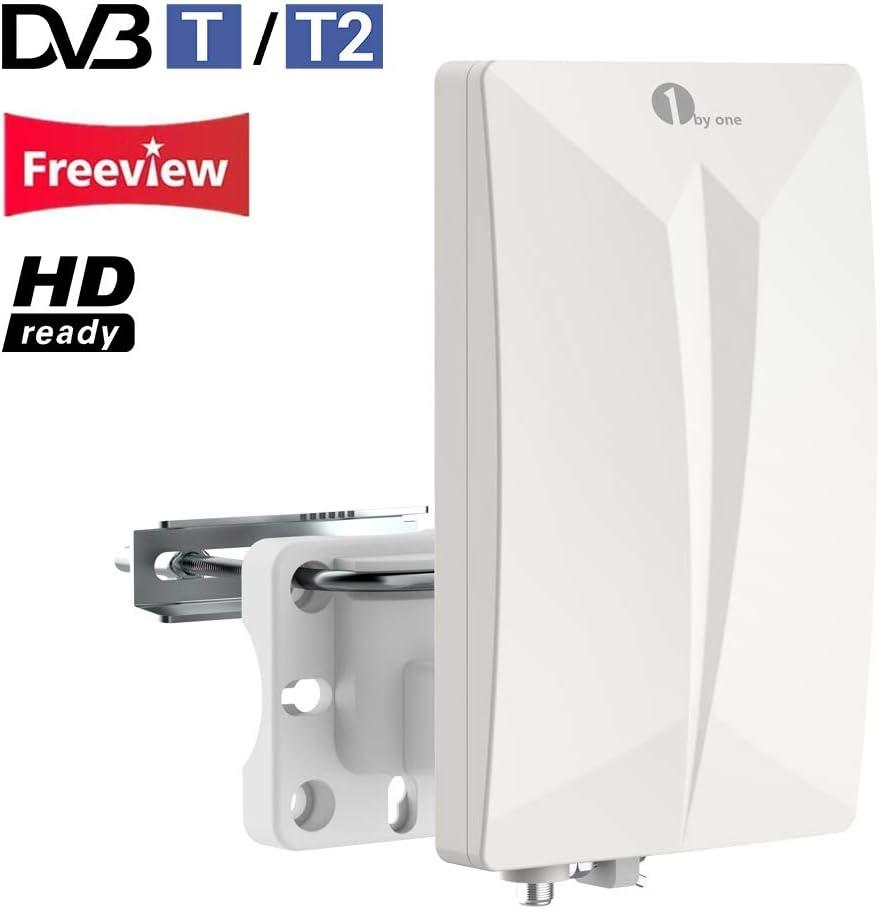 1Byone Antena TV TDT Interior / Exterior para HDTV /Televisión DVB-T / DVB-T2 / receptor, VHF/UHF/FM, 4G LTE Fliter antirreflejos, revestimiento UV, resistente al agua y bündiges Diseño