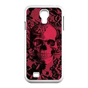 Diy Beautiful Sugar Skull Custom Cover Phone Case for samsung galaxy s4 White Shell Phone [Pattern-3]