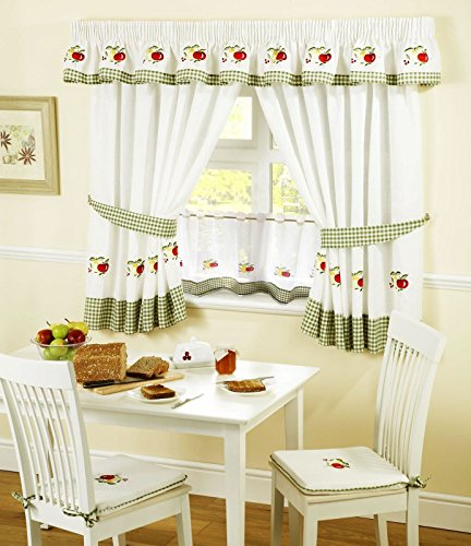 APPLES & PEARS GINGHAM KITCHEN CURTAIN 46