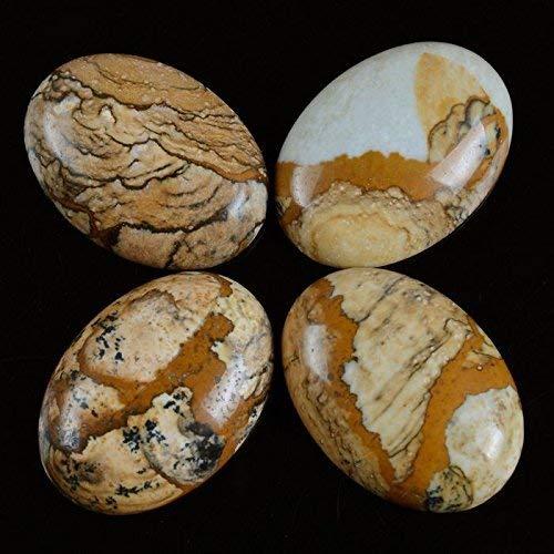 (Calvas Wholesale Natural Gem Stone Carnelian Agat e Cabochon Beads 13x18mm Flat Bottom Oval Gem Stone CAB for Jewelry Making 10pcs/lot - (Color: Picture Jasper 10pcs))