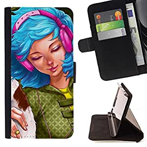 DEVIL CASE - FOR Sony Xperia Z3 D6603 - Blue Hair Pink Girl - Style PU Leather Case Wallet Flip Stand Flap Closure Cover