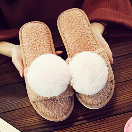 36 Rutschfeste Farbe Mit Dicke AMINSHAP größe Tasche Brown Unterseite Cartoon Nette Weibliche Baumwolle 37EU Modelle Warme Startseite Hausschuhe Paar Plüsch Hausschuhe Brown ffqwaHPz